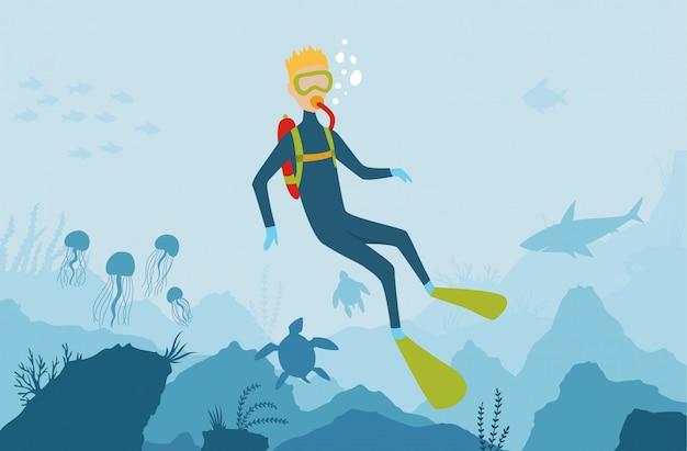 Wektorowy kreskówka stylu podwodny tło z denną florą i fauną