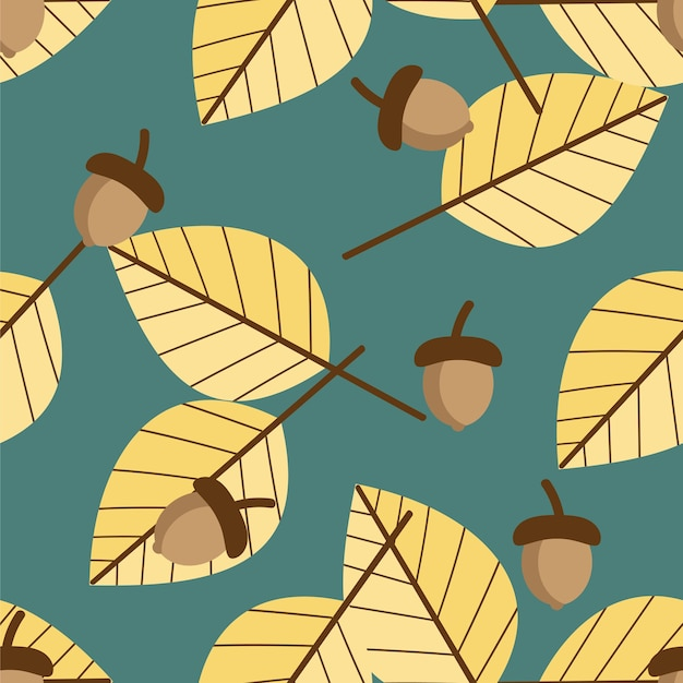 Wektorowy kwiecisty bezszwowy wzór z jesień liśćmi i acorn.