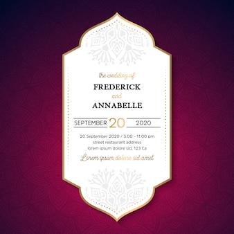 Wektorowy luksusowy ślubny zaproszenie z mandala