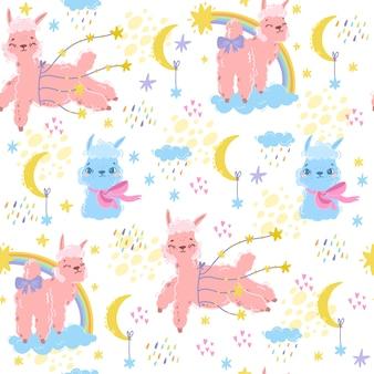 Wektorowy magiczny wzór z alpagą. słodka lama. różowa owca lub jednorożec. użyj motywu dla dzieci. tekstylia, pokój, tapety, druk odzieży. wydrukuj dobranoc kochanie