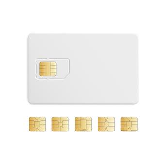 Wektorowy mobilny telefonu komórkowego sim karty układ scalony ustawia odosobnionego na bielu