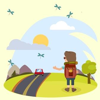 Wektorowy obraz natury w lecie i sytuacji w podróży.