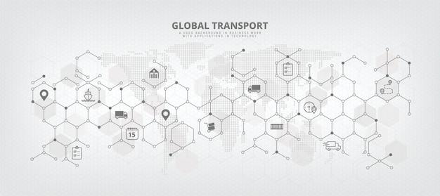 Wektorowy obraz tła globalnego łańcucha dostaw i logistyki z pojęciami związanymi z importem/eksportem, dystrybucją i transportem międzynarodowym streszczenie z tłem mapy świata i ikonami.
