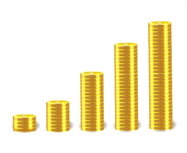 Wektorowy pieniężny pojęcie z stertami złote monety.