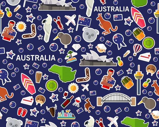 Wektorowy płaski bezszwowy tekstura wzór australia