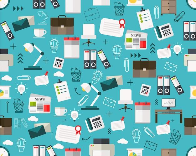 Wektorowy płaski bezszwowy tekstura wzór biuro.