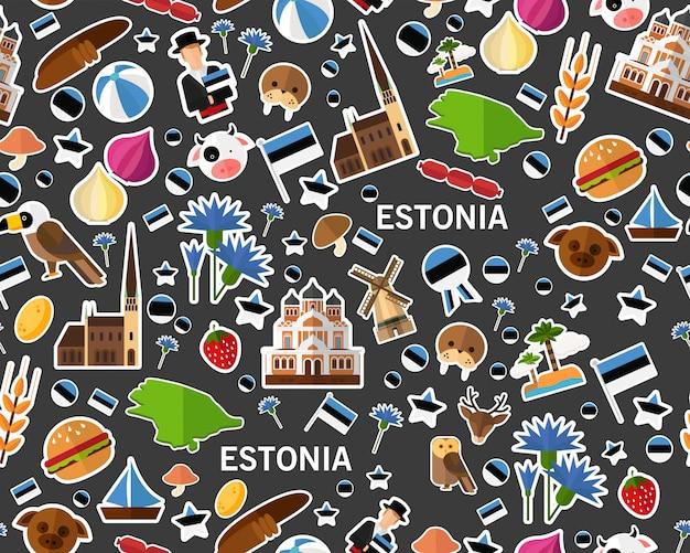 Wektorowy płaski bezszwowy tekstura wzór estonia