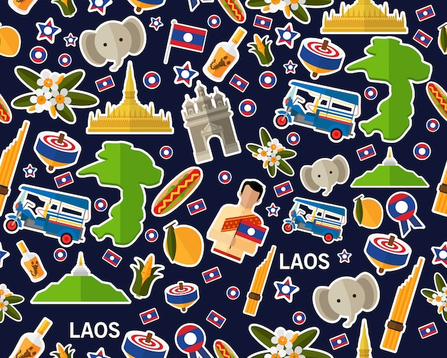Wektorowy płaski bezszwowy tekstura wzór laos