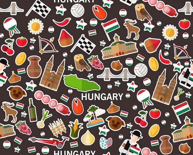 Wektorowy płaski bezszwowy tekstura wzór węgry