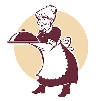 Wektorowy portret urocza babcia i domowy robić jedzenie