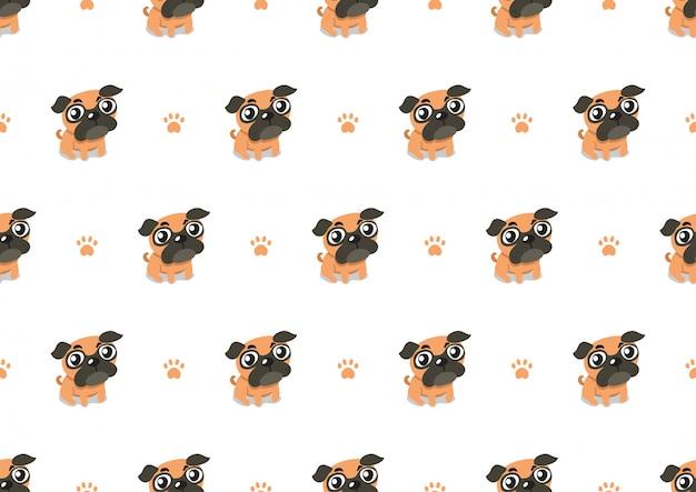 Wektorowy postać z kreskówki mopsa psa bezszwowy deseniowy tło