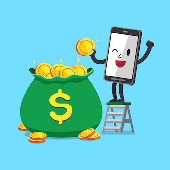 Wektorowy postać z kreskówki smartphone z dużą pieniądze torbą
