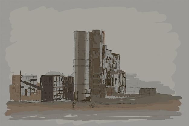Wektorowy przemysłowy krajobraz z zniszczonymi fabrycznymi budynkami.