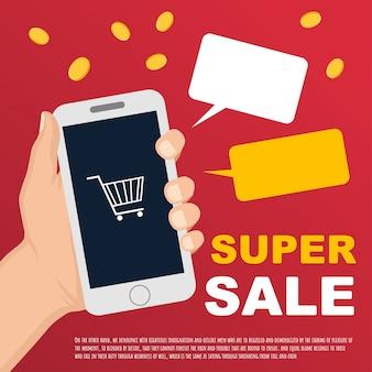 Wektorowy sprzedaż sztandar z ręką i smartphone