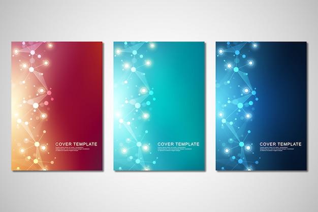 Wektorowy szablon dla broszurki lub pokrywy z cząsteczkowej struktury tłem
