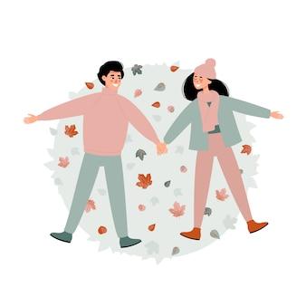 Wektorowy szczęśliwy mężczyzna i kobieta liying w jesień liściach