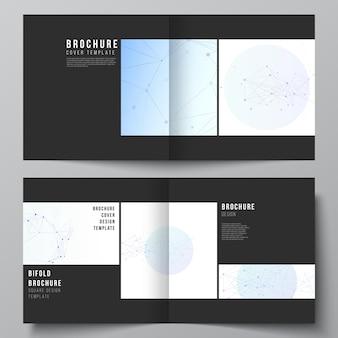 Wektorowy układ dwóch szablonów okładek do kwadratowej broszury bifold ulotka okładka magazynu projekt książki de...