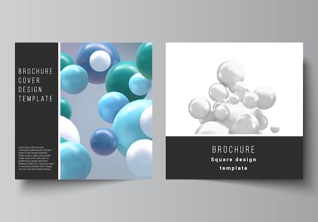 Wektorowy układ dwóch szablonów okładek w formacie kwadratu do broszury ulotki projekt okładki magazyn...