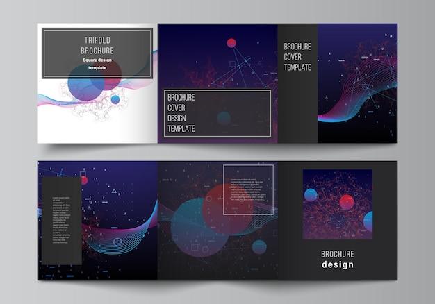 Wektorowy układ kwadratowych okładek szablonów dla broszury trójdzielnej broszura projekt okładki broszura projekt książki okładka sztuczna inteligencja wizualizacja dużych danych kwantowa koncepcja technologii komputerowej