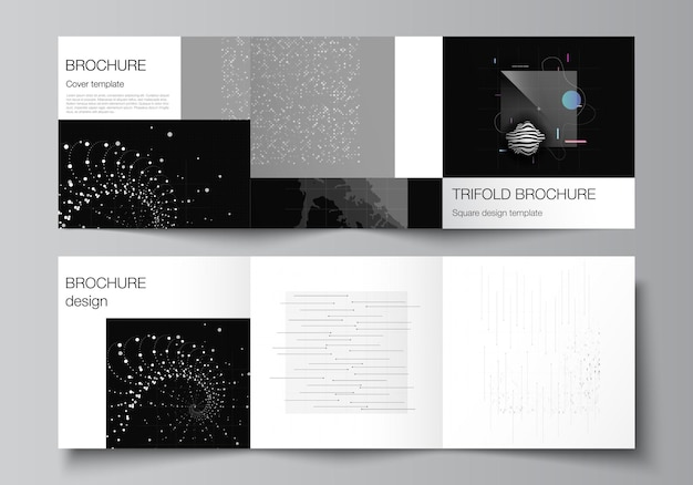 Wektorowy układ kwadratowych szablonów okładek do broszury trójdzielnej ulotki projekt okładki magazynu projekt...