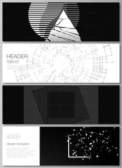 Wektorowy układ nagłówków szablony banerów do projektowania stopki strony internetowej poziomy projekt ulotki nagłówek strony internetowejczarny kolor technologia tło cyfrowa wizualizacja koncepcji nauki medycyna