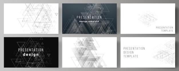 Wektorowy układ prezentacji slajdy szablonów biznesowych, wielokątne tło z trójkątów