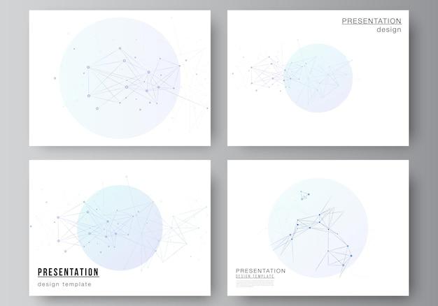 Wektorowy układ slajdów prezentacji projektuje szablony biznesowe uniwersalny szablon do prezentacji broszura broszura obejmuje raport niebieskie tło medyczne z liniami łączącymi i kropkami splot