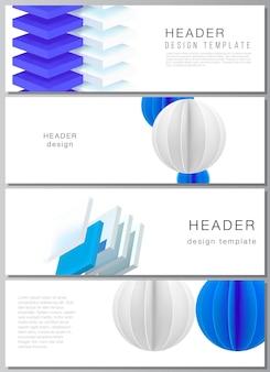 Wektorowy układ szablonów banerów nagłówków do projektowania stopek strony internetowej poziomy projekt ulotki tła nagłówka strony internetowej d renderowanie kompozycji wektorowej z dynamicznymi geometrycznymi niebieskimi kształtami w ruchu