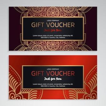Wektorowy ustawiający luksusowi czerwoni prezentów bony