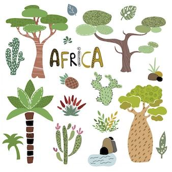 Wektorowy ustawiający afrykańscy drzewka palmowe