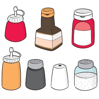 Wektorowy ustawiający condiment butelki