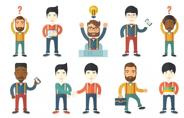 Wektorowy ustawiający ilustracje z ludźmi biznesu.