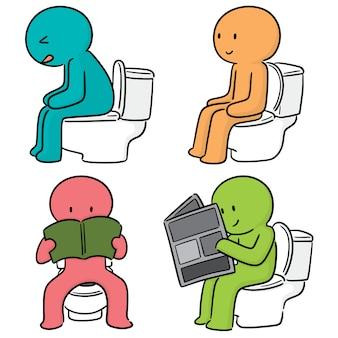 Wektorowy ustawiający ludzie używa spłukiwaną toaletę