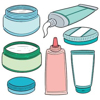 Wektorowy ustawiający miejscowy kosmetyka i miejscowy medycyna