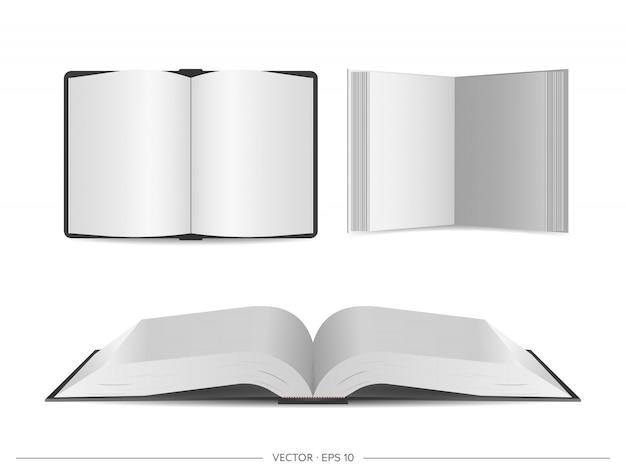 Wektorowy ustawiający otwarte książki odizolowywać na bielu