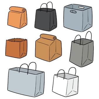 Wektorowy ustawiający papierowa torba