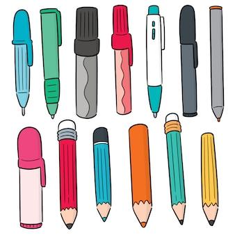 Wektorowy ustawiający pióro i ołówek