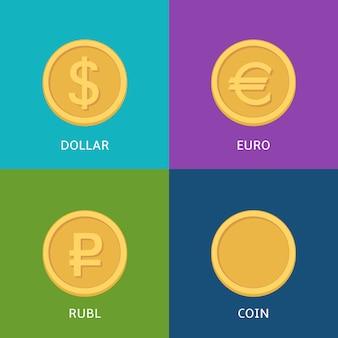 Wektorowy ustawiający płaskie monety na colorfull sztandarze