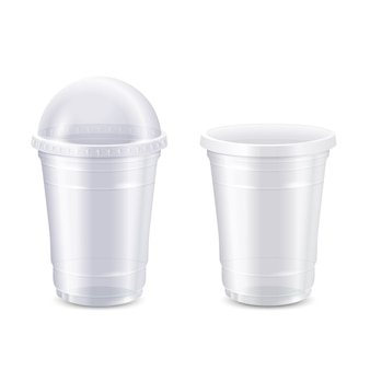 Wektorowy ustawiający pusta jasna rozporządzalna plastikowa filiżanka, realistyczny 3d