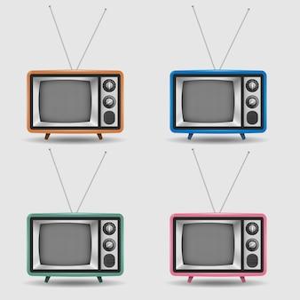 Wektorowy ustawiający realistyczne retro tv ikony