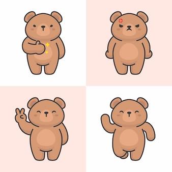 Wektorowy ustawiający śliczni niedźwiadkowi charaktery