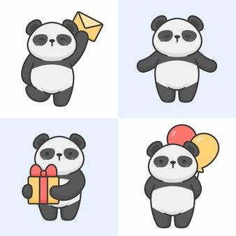 Wektorowy ustawiający śliczni panda charaktery