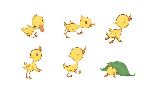 Wektorowy ustawiający śliczni śmieszni żółci kreskówek kaczątka