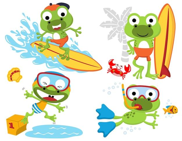 Wektorowy ustawiający śmieszne żaby