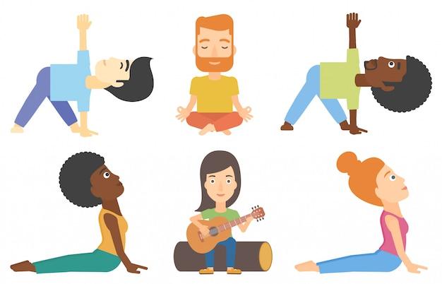 Wektorowy ustawiający turyści i ludzie ćwiczy joga.