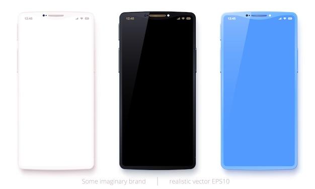 Wektorowy ustawiający wymyśleni telefony komórkowi. realistyczne smartfony z białymi, czarnymi i jasnoniebieskimi obudowami.