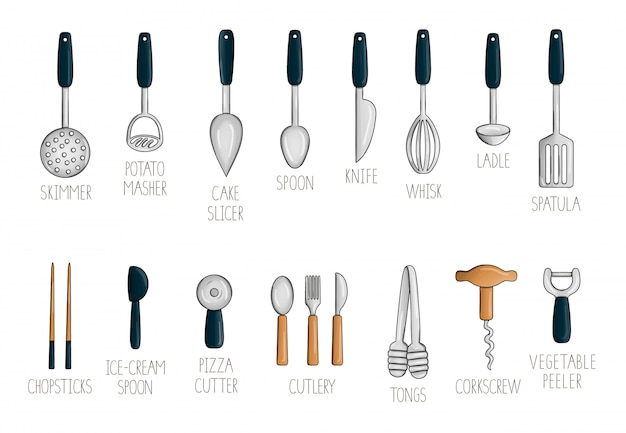 Wektorowy ustawiający z kolorowymi kuchennymi narzędziami.