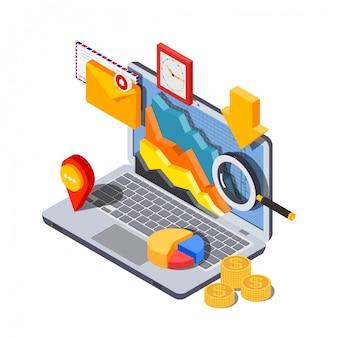 Wektorowy wizerunek isometric stylowy laptop z ikonami