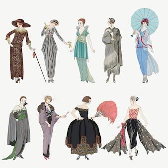 Wektorowy zestaw mody damskiej z lat 20. xx wieku, remiks dzieł sztuki autorstwa george'a barbiera