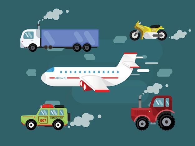 Wektorowy zestaw transportowy do swobodnego projektowania. cer, ciężarówka, samolot, rower